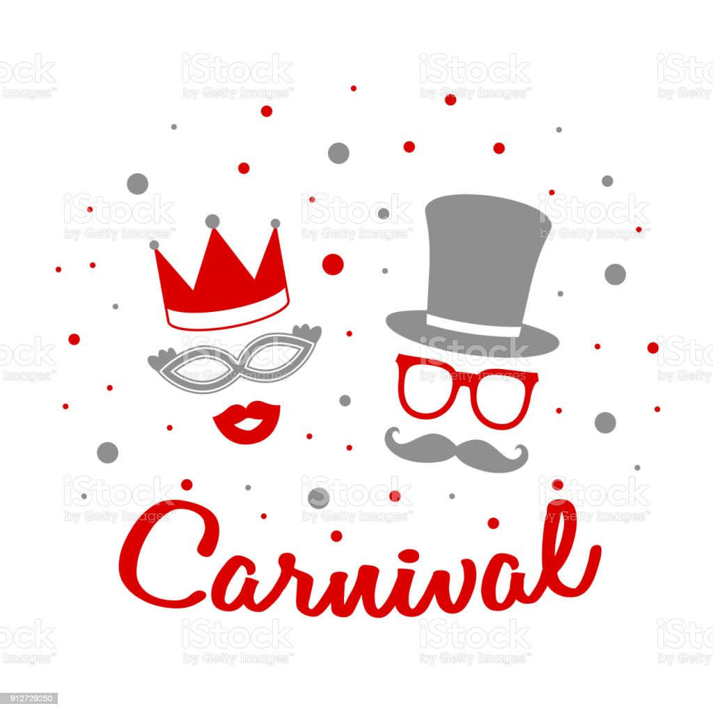 Carnival - card with funny costumes and confetti. Vector. vector art illustration