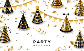 Carnival funfair card with gold and black party caps on white background. Vector illustration. Place for text. Streamers, confetti and hanging flag garlands.