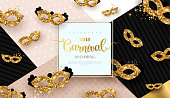 Carnival funfair card with square frame and golden masks on modern geometric background. Vector illustration. Place for your text.