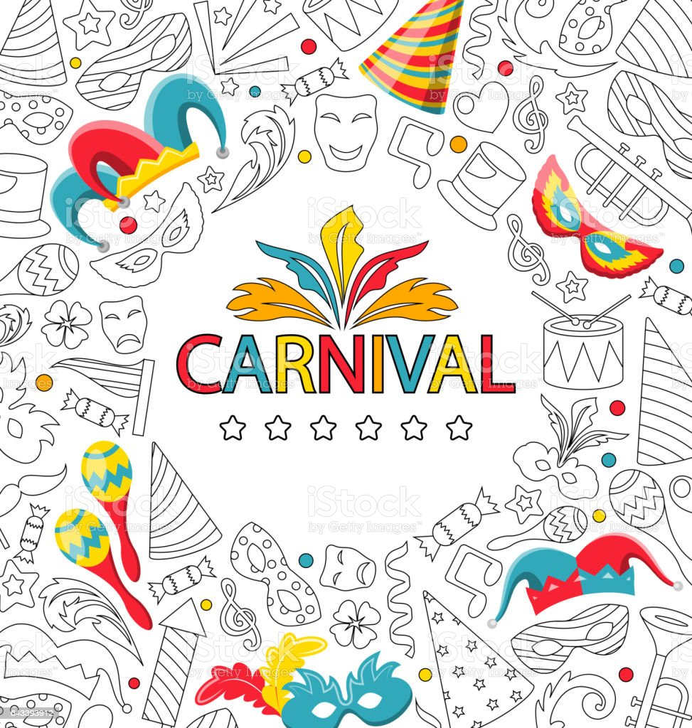 Carnival Celebration Card with Hand Drawing Icon Style vector art illustration