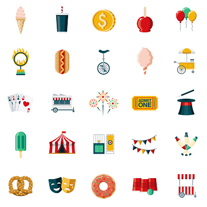 Carnival & Circus Flat Design Icon Set