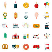 A set of 25 carnival and travelling circus flat design icons on a transparent background. File is built in the CMYK color space for optimal printing. Color swatches are Global for quick and easy color changes.