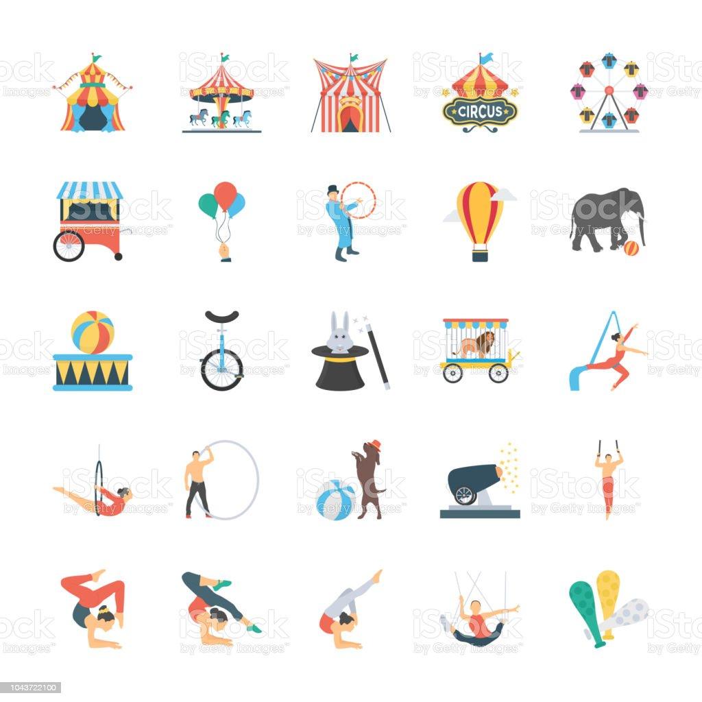 Carnival Circus Flat Icons vector art illustration