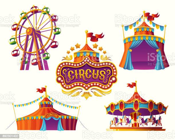 Carnival circus icons with a tent carousels flags vector id892301402?b=1&k=6&m=892301402&s=612x612&h=cnkjph8chqcdzotooy9xs osk0crj0zrskezze1cfzy=