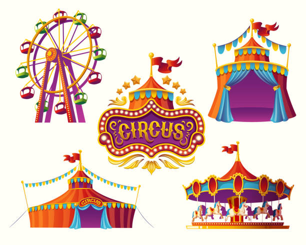 Carnival circus icons with a tent, carousels, flags. vector art illustration