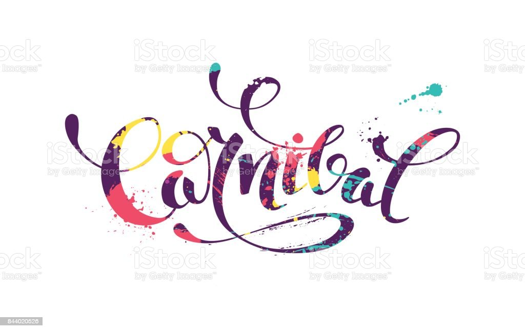 Carnival colorful calligraphic lettering poster. vector art illustration