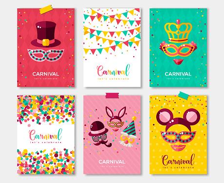 Carnival colorful posters set, flyer or invitation design