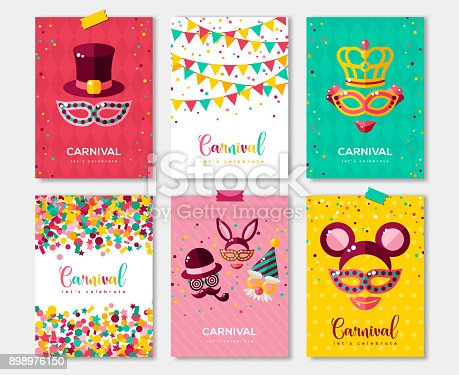Carnival colorful posters set, flyer or invitation design. Vector illustration. Funfair funny tickets design with pattern and emblem. Place for your text message.