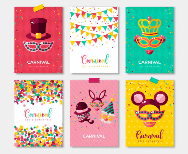 Carnaval coloré affiches ensemble, flyer ou invitation design - Illustration vectorielle