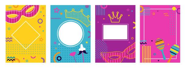 ilustrações, clipart, desenhos animados e ícones de pôsteres coloridos de carnaval definidos, panfletos ou convites. design de ingressos engraçados da funfair com máscara e coroa em fundo geométrico moderno colorido no estilo memphis anos 80 - carnaval