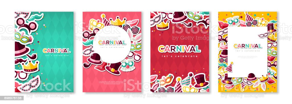 Carnival colorful posters set vector art illustration