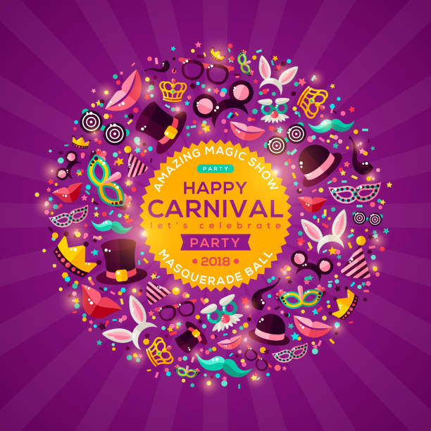 ilustrações, clipart, desenhos animados e ícones de banner de conceito de carnaval no fundo roxo brilhante - carnaval
