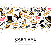Carnival Concept Banner with carnaval Gold and Black Icons on white background. Vector Flat Illustration. Place for your text. Photo Booth Party Elements in Border.