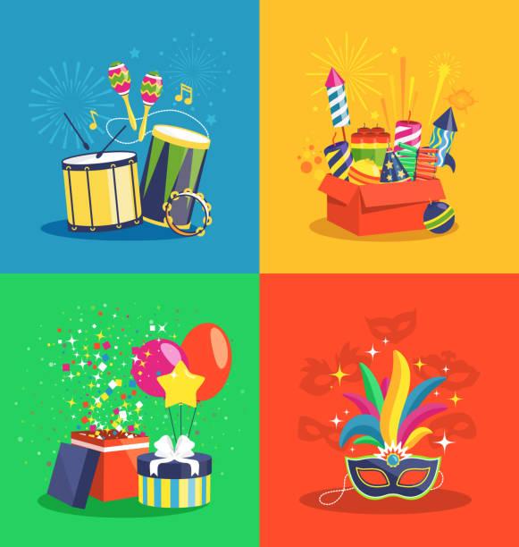 stockillustraties, clipart, cartoons en iconen met carnival concept with music pyrotechnics gifts and masks - tamboerijn