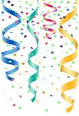 Confete e serpentina de festas