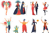 Carnival party icons set with people wearing costumes flat isolated vector illustration