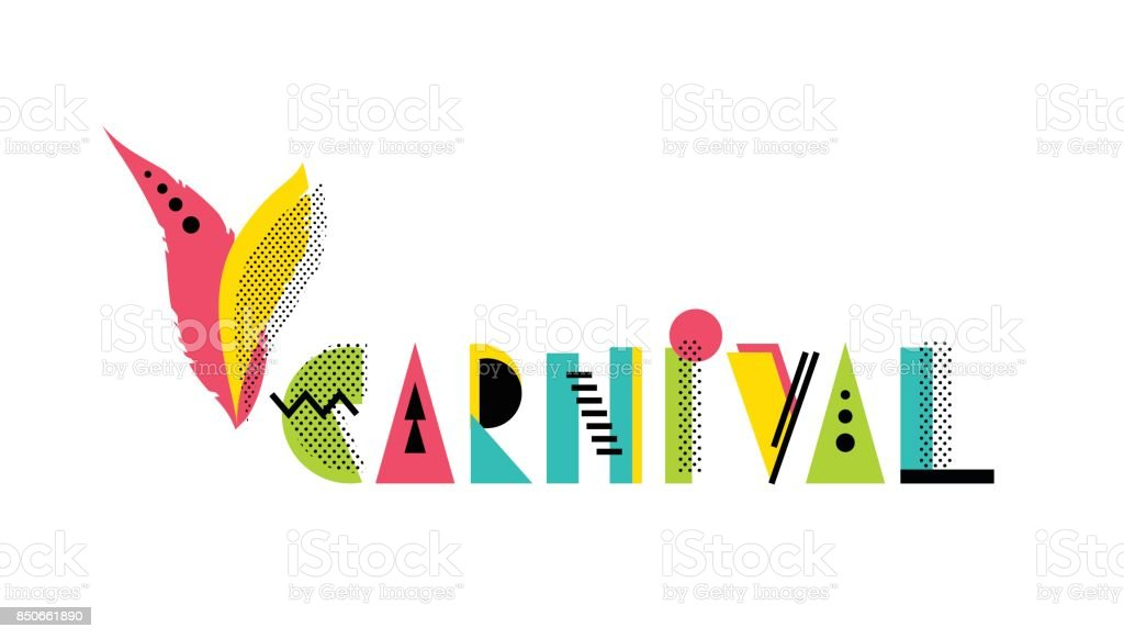 Carnival creative geometric alphabet. vector art illustration