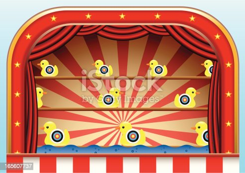 Illustration of a Duck Shoot amusement found at a carnival or fairground.