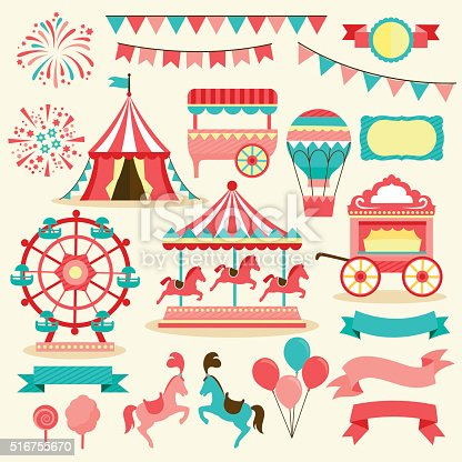 collection of elements related to carnivals and circus