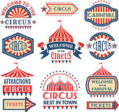 Carnival event logotypes template. Vector badges set isolate. Illustration of circus event, banner and emblem amusement