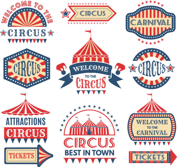 carnival event logotypes template. vector badges set isolate - circus stock illustrations