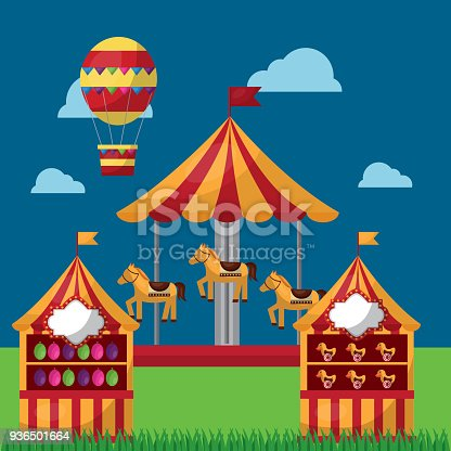 carnival fair festival horse carousel  s booths and air balloon vector illustration