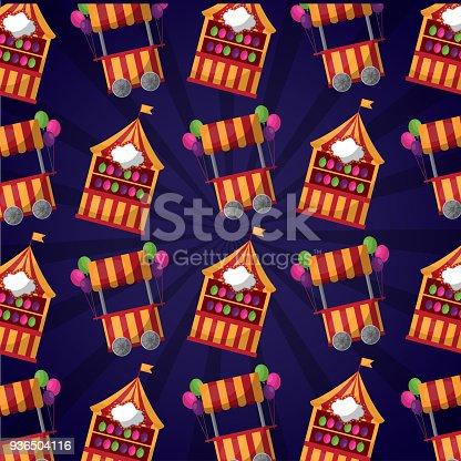 carnival fair festival booth   balloons pattern vector illustration
