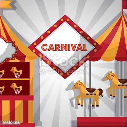 carnival fair festival carousel horses booth   ducks vector illustration