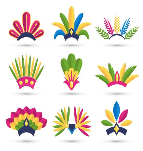 carnival festive headdress hat icons isolated on white - kopfschmuck stock-grafiken, -clipart, -cartoons und -symbole