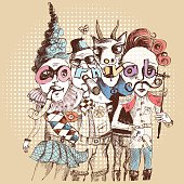 colorized vector scribble of carnival figures in a rough line art style, color can easily get changed