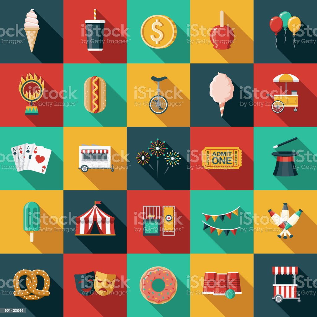 Carnival Flat Design Icon Set with Side Shadow vector art illustration
