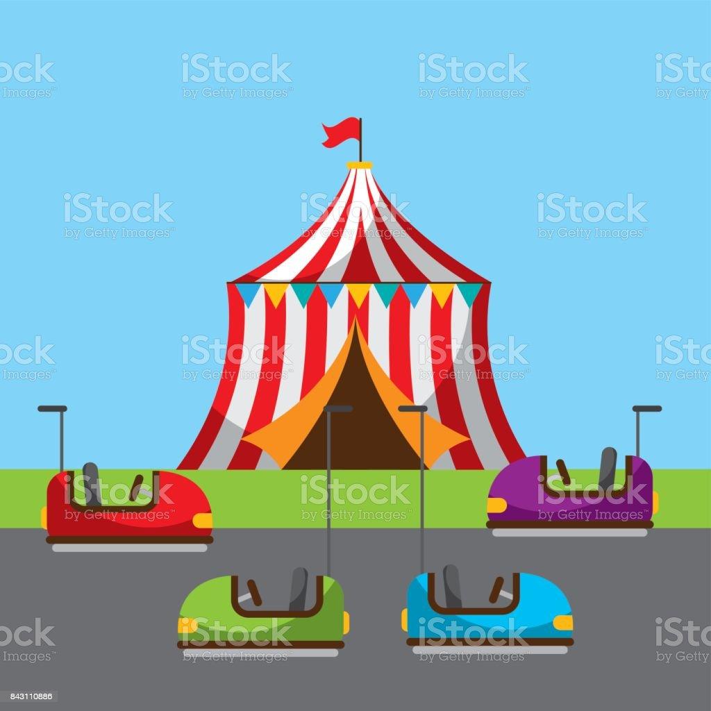 Parque de circo fiesta carnaval vacacional - ilustración de arte vectorial