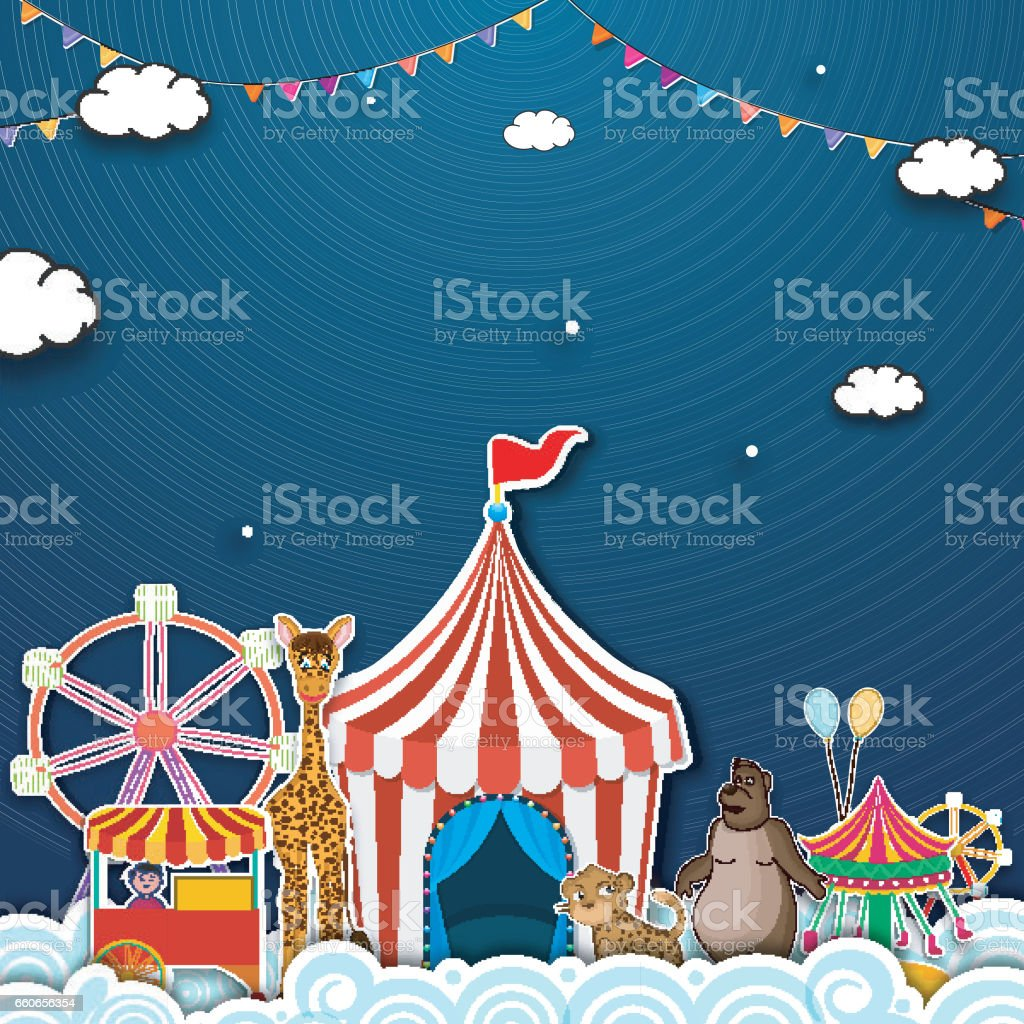 Carnival Funfair background with illustration of colorful rides, tent, balloons and other elements, Can be used as poster, banner, flyer or template design. vector art illustration