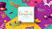 Carnival funfair card with square frame, photo booth props and masks on colorful modern geometric background. Vector illustration. Place for your text.