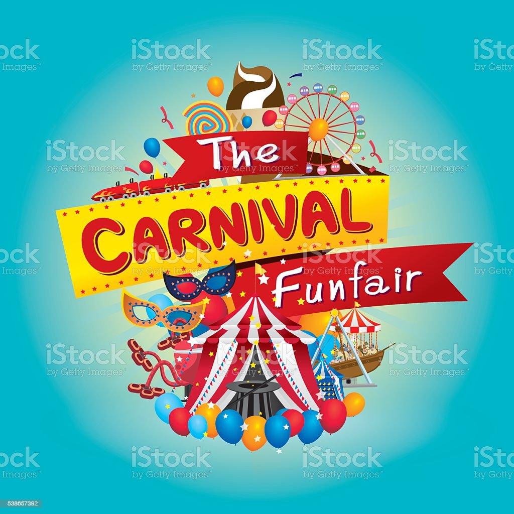 carnival funfair vector art illustration