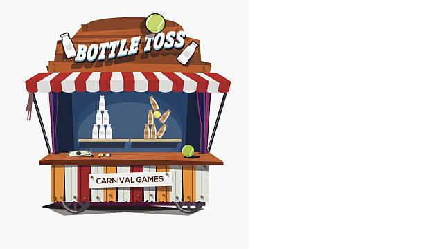 carnival game. Milk Bottle Toss - vector illustration carnival game with Milk Bottle Toss. leisure games stock illustrations