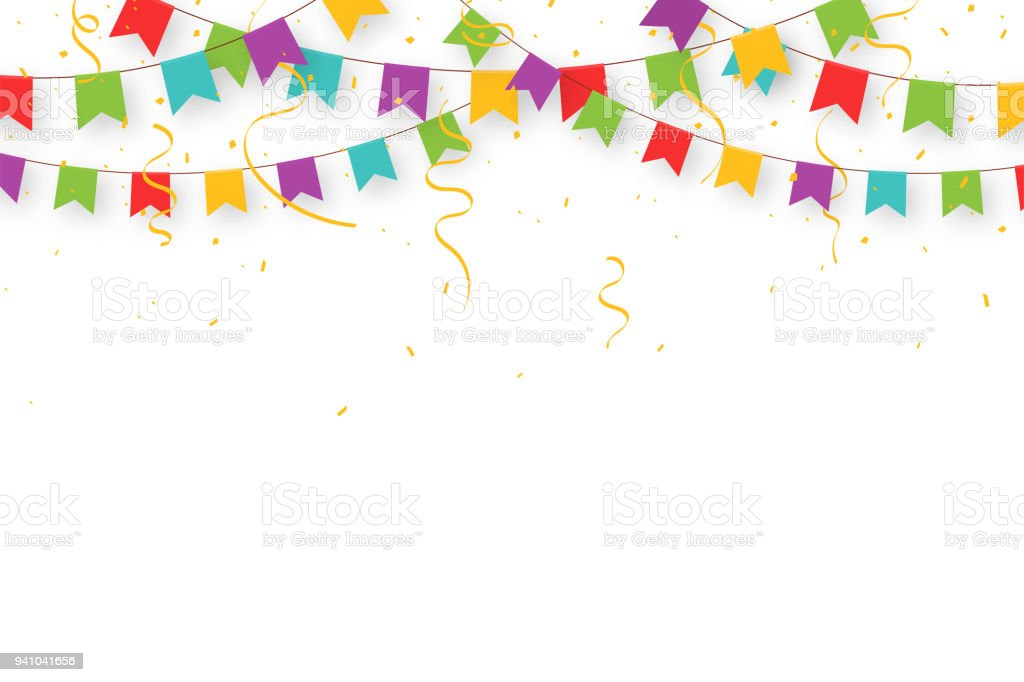 Carnival garland with flags, confetti and ribbons. Decorative colorful party pennants for birthday celebration, festival and fair decoration. Holiday background with hanging flags vector art illustration
