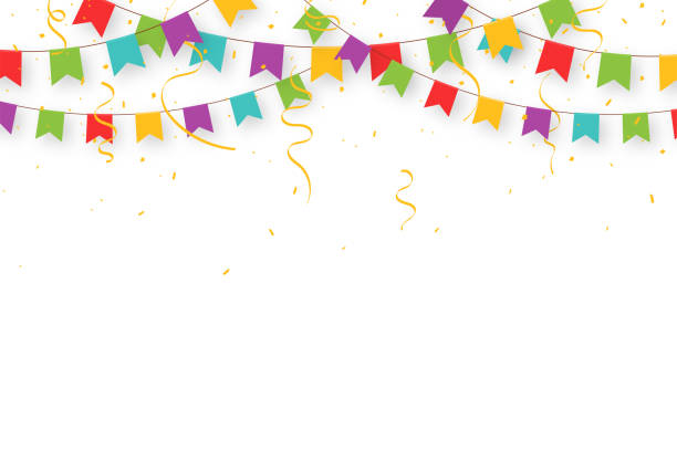 Carnival garland with flags, confetti and ribbons. Decorative colorful party pennants for birthday celebration, festival and fair decoration. Holiday background with hanging flags Carnival garland with flags, confetti and ribbons. Decorative colorful party pennants for birthday celebration, festival and fair decoration. Holiday background with hanging flags. Vector farmer's market stock illustrations