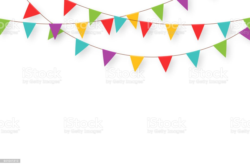 Carnival garland with flags. Decorative colorful party pennants for birthday celebration, festival and fair decoration. Holiday background with hanging flags vector art illustration