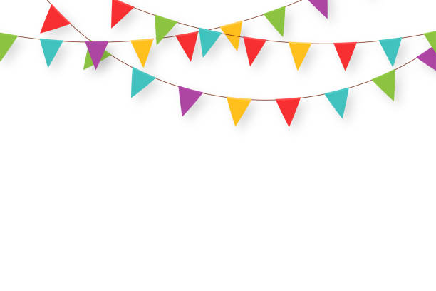 Carnival garland with flags. Decorative colorful party pennants for birthday celebration, festival and fair decoration. Holiday background with hanging flags Carnival garland with flags. Decorative colorful party pennants for birthday celebration, festival and fair decoration. Holiday background with hanging flags. Vector agricultural fair stock illustrations