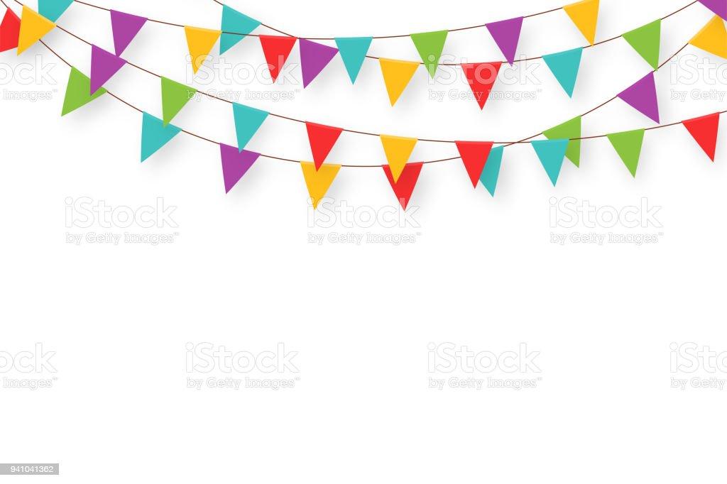 Guirnalda de carnaval con banderas. Banderines de fiesta colorida decorativa para la celebración de cumpleaños, festival y Feria de decoración. Fondo de vacaciones con banderas que cuelgan ilustración de guirnalda de carnaval con banderas banderines de fiesta colorida decorativa para la celebración de cumpleaños festival y feria de decoración fondo de vacaciones con banderas que cuelgan y más vectores libres de derechos de acontecimiento libre de derechos