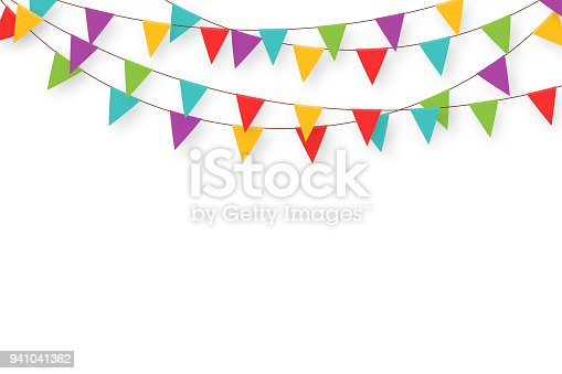 istock Carnival garland with flags. Decorative colorful party pennants for birthday celebration, festival and fair decoration. Holiday background with hanging flags 941041362