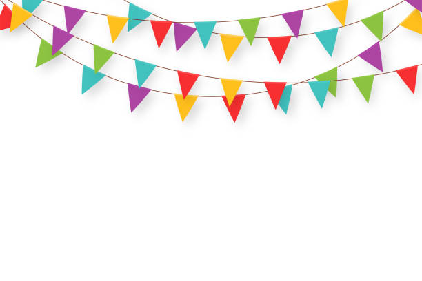 Carnival garland with flags. Decorative colorful party pennants for birthday celebration, festival and fair decoration. Holiday background with hanging flags Carnival garland with flags. Decorative colorful party pennants for birthday celebration, festival and fair decoration. Holiday background with hanging flags. Vector farmer's market stock illustrations