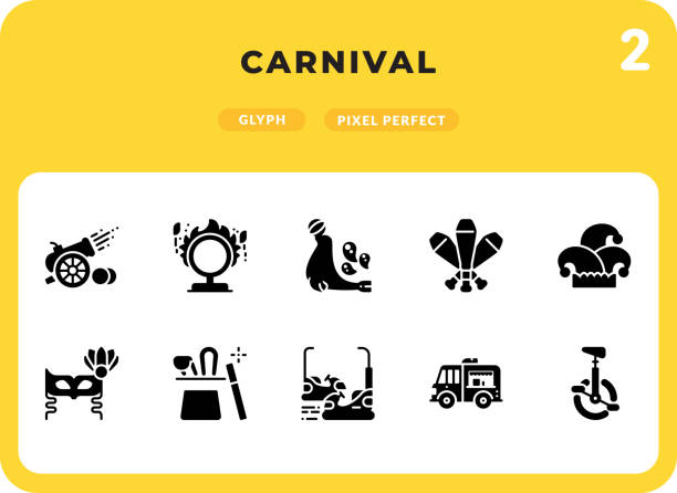Carnival Glyph Icons Pack for UI. Pixel perfect thin line vector icon set for web design and website application. vector art illustration