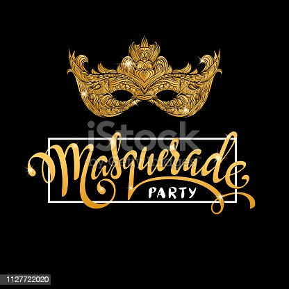 Carnival luxury gold mask and calligraphy lettering Masquerade party. Greeting card design template. Vector Illustration.