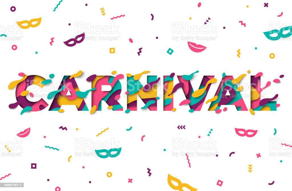 Carnival greeting card with typography design vector art illustration
