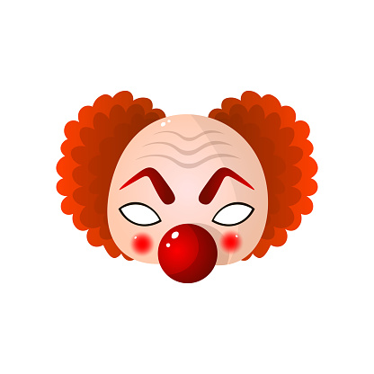 Carnival halloween, masquerade clown mask with big red nose and curly hair