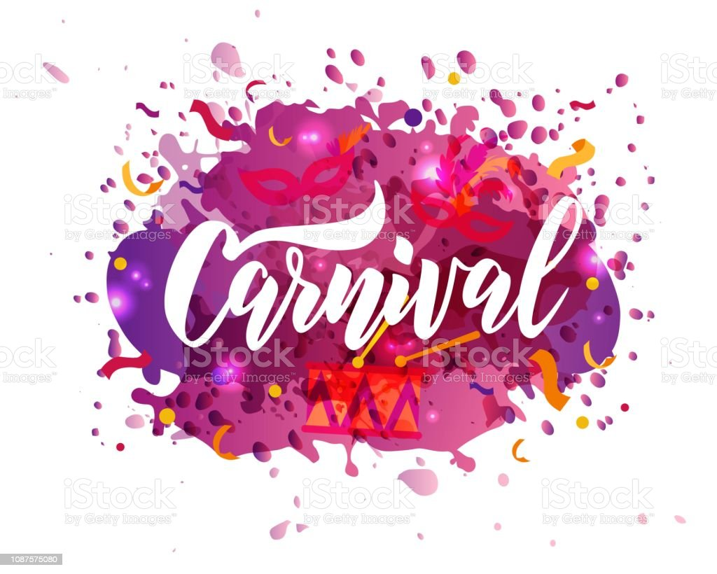 Carnival Hand Lettering Text As Banner Card Icon Invitation Template