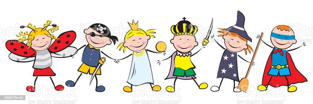 Ilustración de Carnaval Niños Felices Y Máscaras y más banco de ...