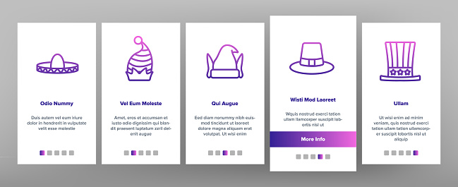 Carnival Hat Festival Onboarding Icons Set Vector